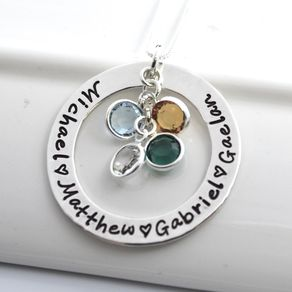 Personalized necklaces personalized pendants custommade mothers personalized necklace with birthstones by vanessa painter aloadofball Images