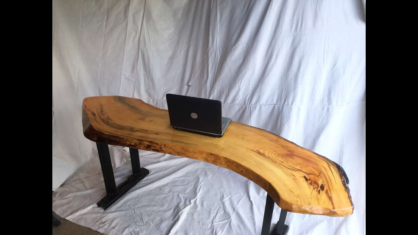 A Hand Made Live Edge S Table Desk With Copper Inlay