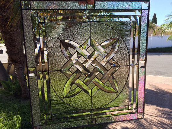 Trinity Knot Stained Glass Hanging Window Panel