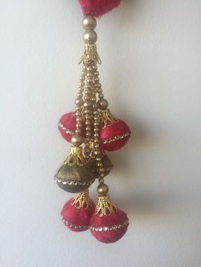 Custom Made Hot Pink Velvet Balls With Crystal Stones Design, Hanging With Gold Beads[30$]