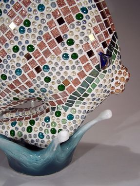 Custom Made Mosaic Angelfish Garden Or Jacuzzi Hot Tub Sculpture
