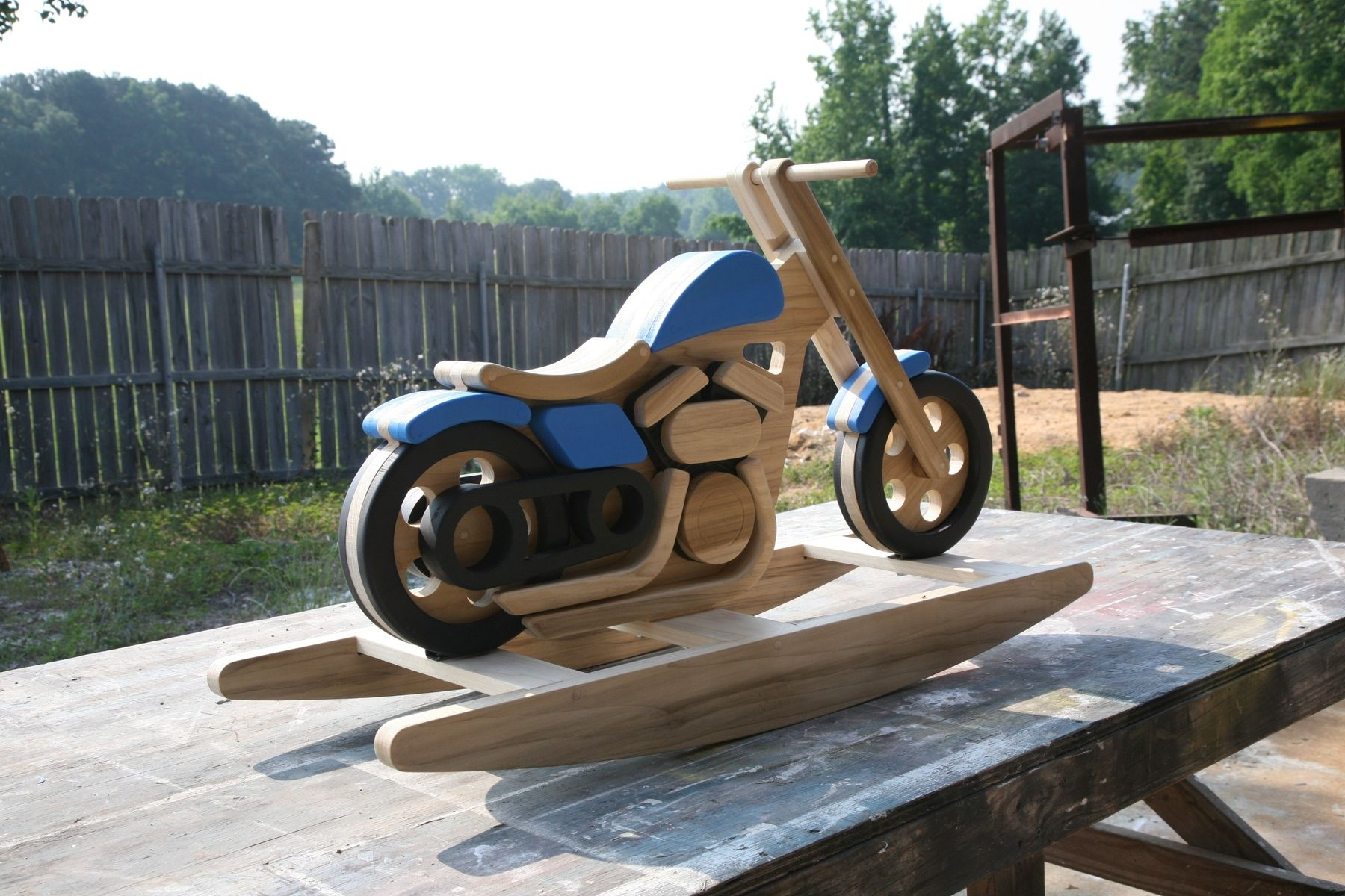 Custom motorcycle rocking horse by digital processes llc for Scooter rocking horse