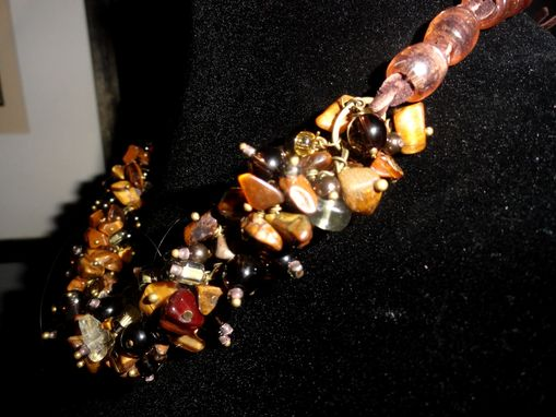 Custom Made Tigers Eye, Citrine, Smoky Quartz Necklace W/Deerskin Tie