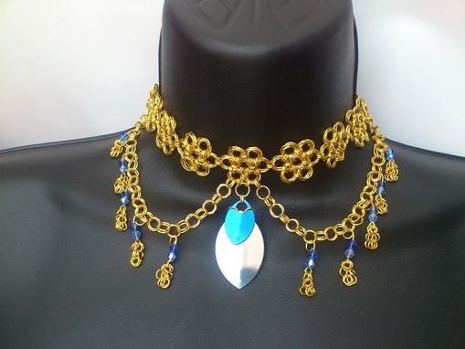 Custom Made Custom Japanese Chainmail Necklace With Austrian Crystal Accent