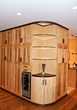 Custom Made Built In Birds Eye Maple, And Walnut Cabinetry
