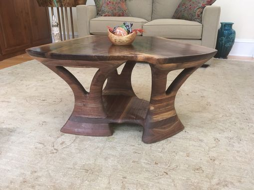 Custom Made Hand Sculptured Solid Walnut Coffee Table
