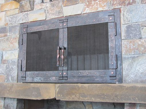 Custom Made Hand Forged Fire Place Doors And Screens
