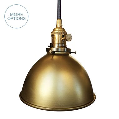 "Custom Made Factory 7"" Metal Shade Pendant Light- Brass"