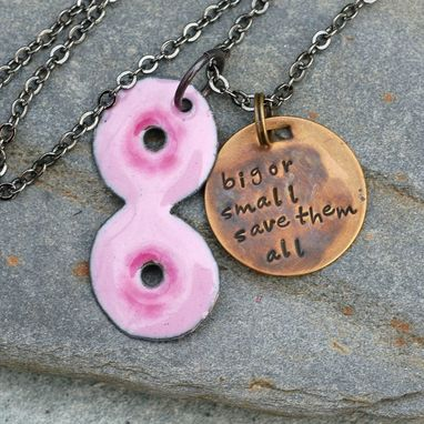 Custom Made Breast Cancer Necklace Boobs Pendant Handstamped Brass Tag Enameled Survivor Jewelry - Big Or Small