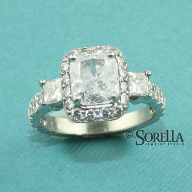 Custom Made Custom Platimum Halo Diamond Engagement Ring