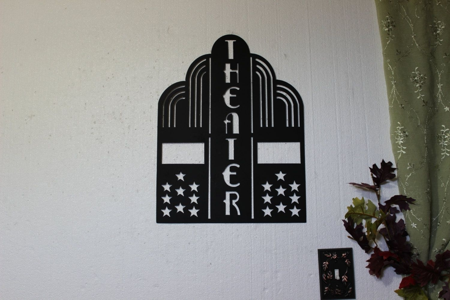 Hand Crafted Theater Sign With Stars Home Theater Decor