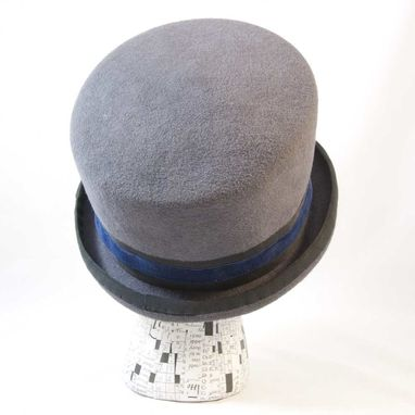 Custom Made Mad Hatter Top Hat Gray Blue - Necessity Is The Mother Of Invention