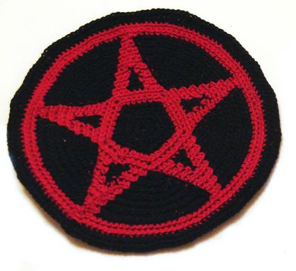 Custom Made Pentacle Patch In Black And Red Cotton