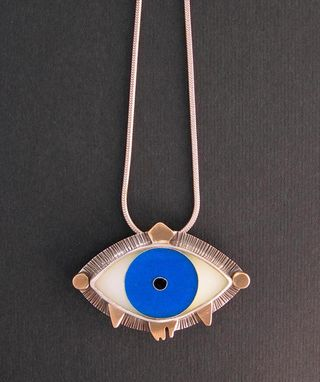 Custom Made Evil Eye Necklace - Aqua Blue