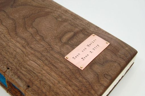 Custom Made Wedding Guest Book With Black Walnut Wood Covers - Custom Fall Wedding Personalized Brown Blue