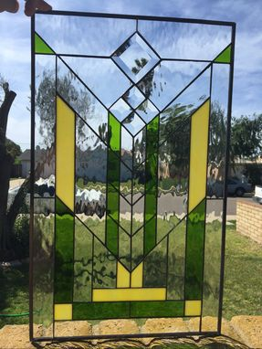 Custom Made Frank L. Wright/ Mission Style Stained Glass Window (We Do Custom Work)