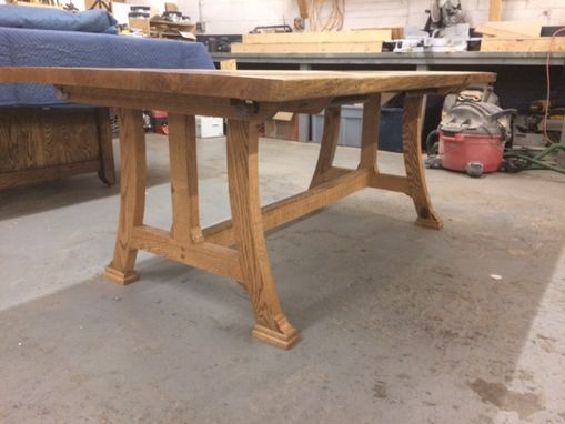 Custom Made Custom Dining Table, Somewhere Between Traditional And Modern Base Style Active