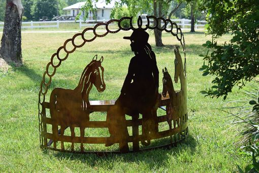Custom Made A Girl And Her Horses Steel Metal Garden Bench