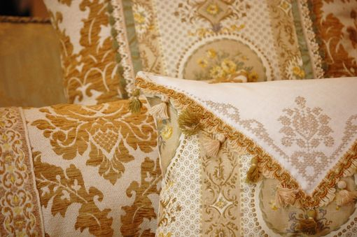 Custom Made Opulent Vintage Chenille And Linen Pillow Collection