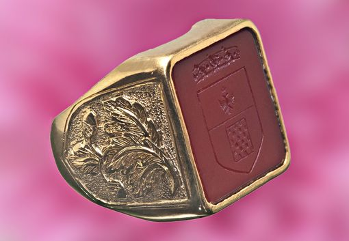 Custom Made Red Agate Square Stone Signet Ring