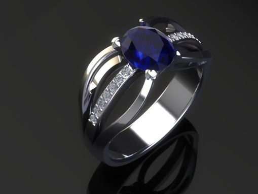 Custom Made Love Song Blue Sapphire 14k Gold Engagement Ring