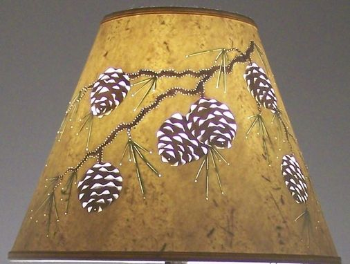 Custom Made Reverse Painted Cut & Pierced Pine Cone Design Lampshade
