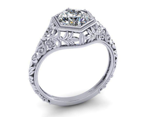 Custom Made Art Nouveau Diamond Engagement Ring 14k White Gold Filigree Fl Round 6mm