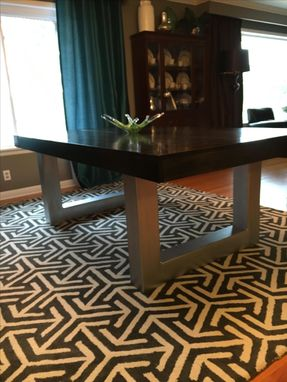 Custom Made Steel And Wood Dining Table