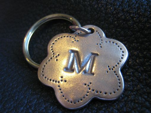 Custom Made Personalized Key Chain Keychain In Solid Bronze Monogrammed - Quilter's Flower