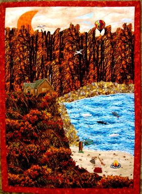 "Custom Made Quilted Landscape Wall Hanging - ""Autumn Evening"""