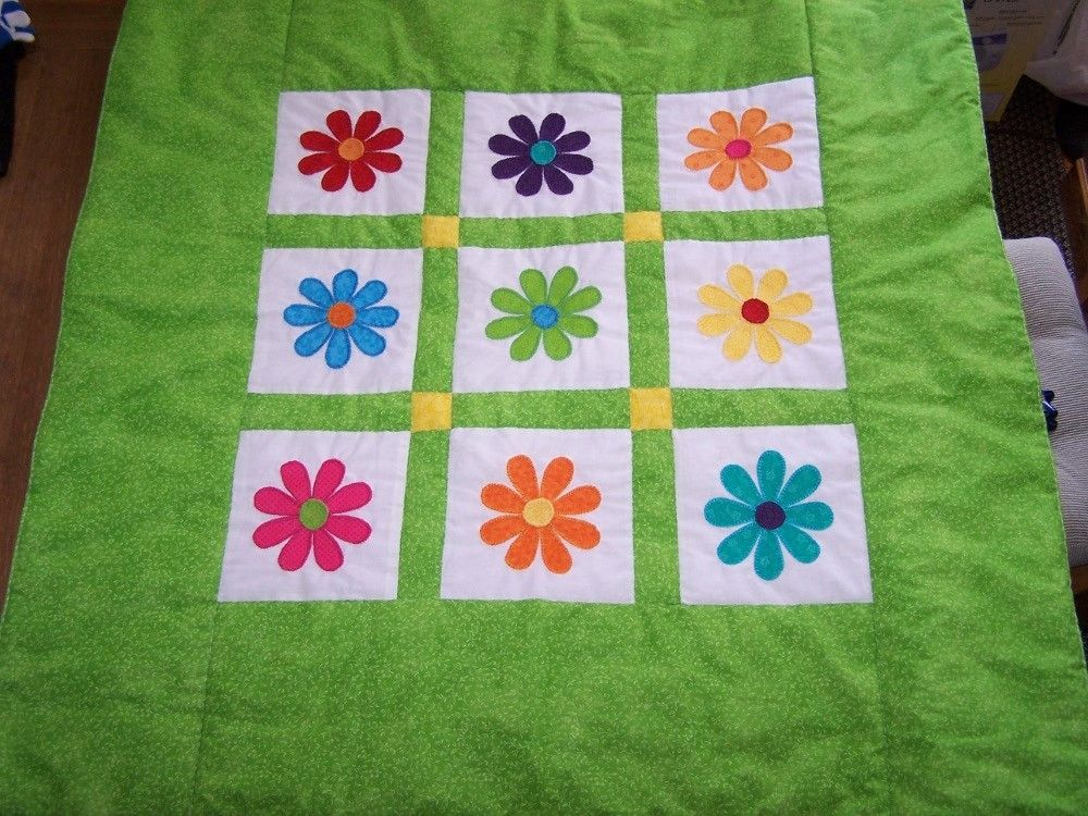 Hand Crafted Gerber Daisy Quilt By Quilts By Sherry