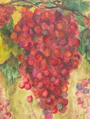 "Custom Made Wine Grapes Painting 25% Off Abstract Original-Crimson Green Ochre Acrylic Painting 19.5""X36"""