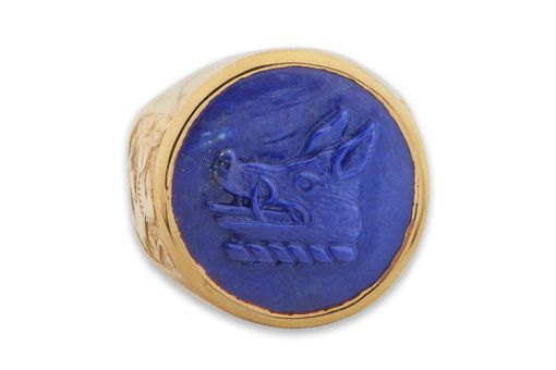 Custom Made Lapis Family Crest Ring Sculpted