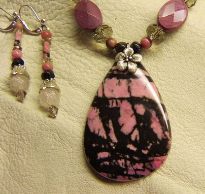 Custom Made Rhodonite Jasper W/Forget-Me-Not Necklace & Earring