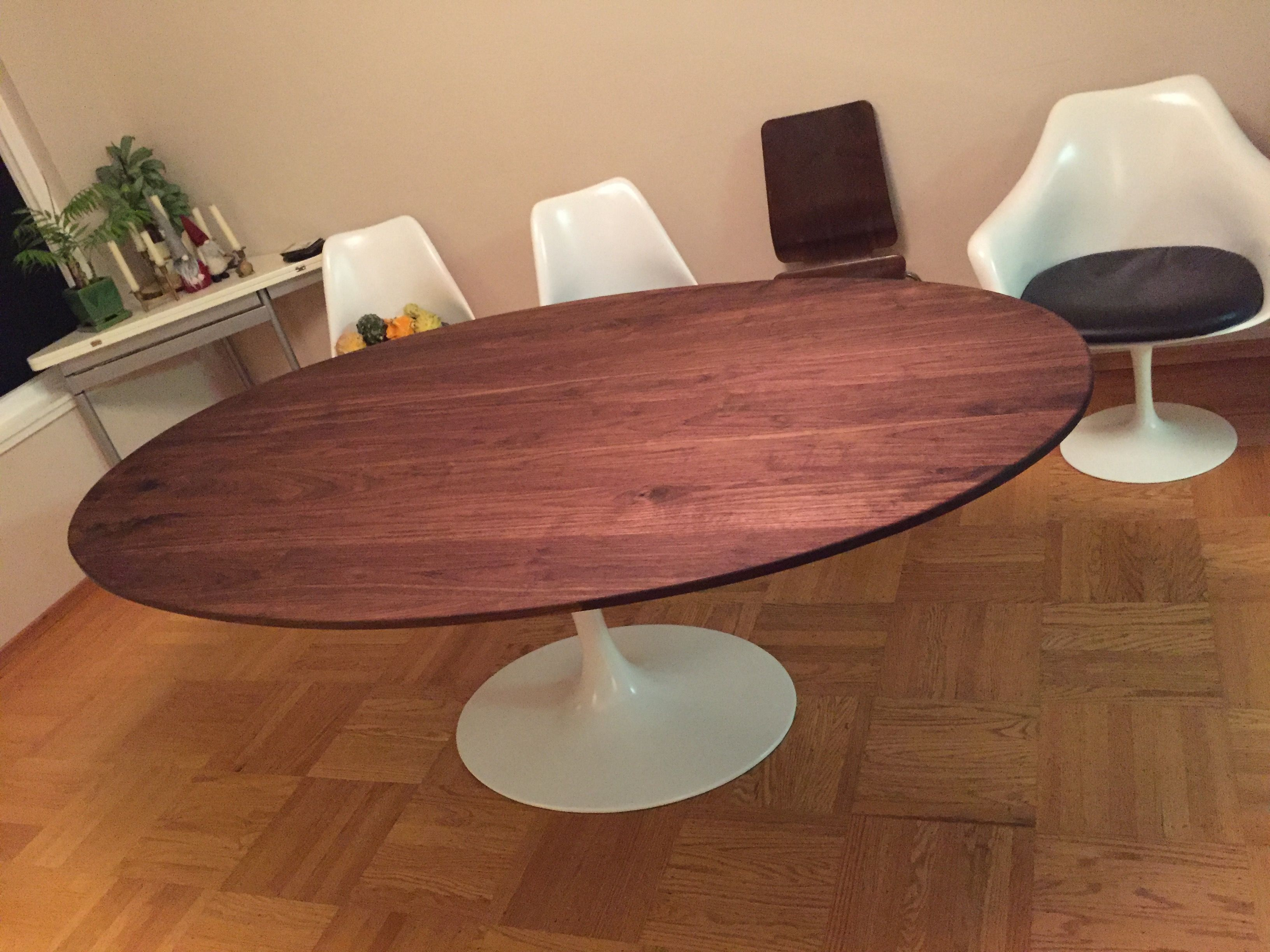 Handmade X Solid Walnut Oval Tabletop For Clients Tulip - Custom tulip table