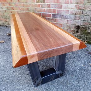 Live Edge Bench Coffee Table Mahogany Steel Modern Rustic Stripes Natural Wood