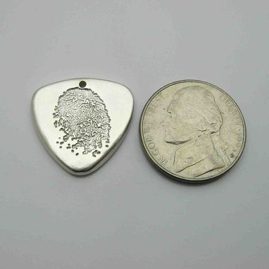 Custom Made Personalized Silver Fingerprint Guitar Pick Charm Or Pendant