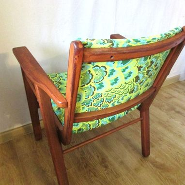 Custom Made Refinished Vintage Teak Chair In Sea Green Peacock Feathers