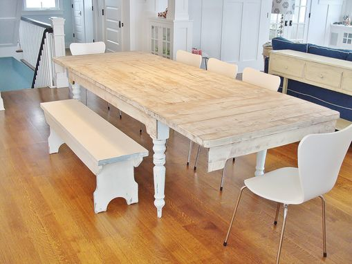 Custom Made Weathered Extension Farm Table With Breadboard Ends