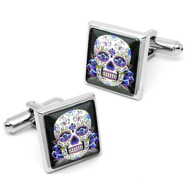 Custom Made Day Of The Dead Blue Skull & Roses Culllink Set 56-Ssc
