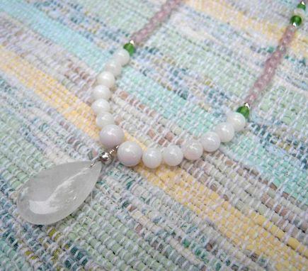 Custom Made Rose Quartz And Mother Of Pearl Long Necklace-Free Shipping