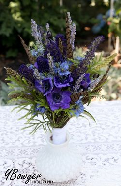 Custom Made Purple Wildflower Wedding Bouquet