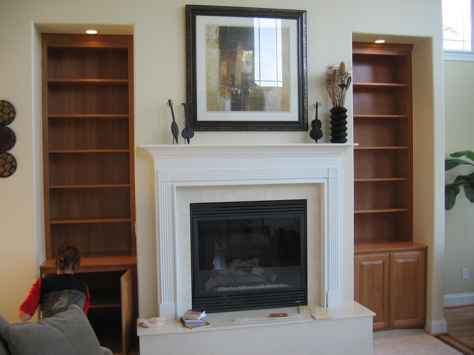 Hand made custom built in book shelves by