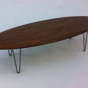 66 Mid Century Modern Solid Walnut Elliptical Coffee Table By Derek Hurd