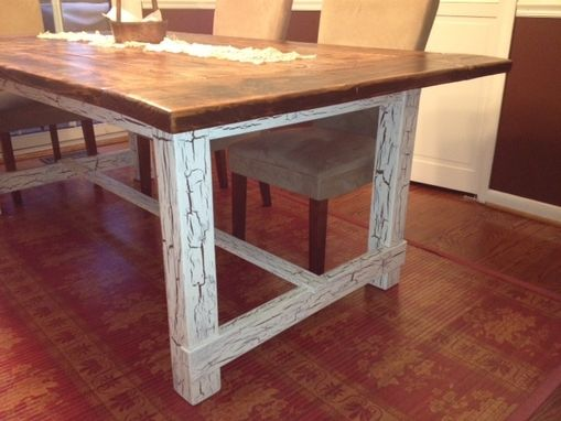Hand Made Reclaimed Wood Trestle Style Farmhouse Table By