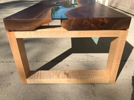 Custom Made Walnut River Glass Coffee Table