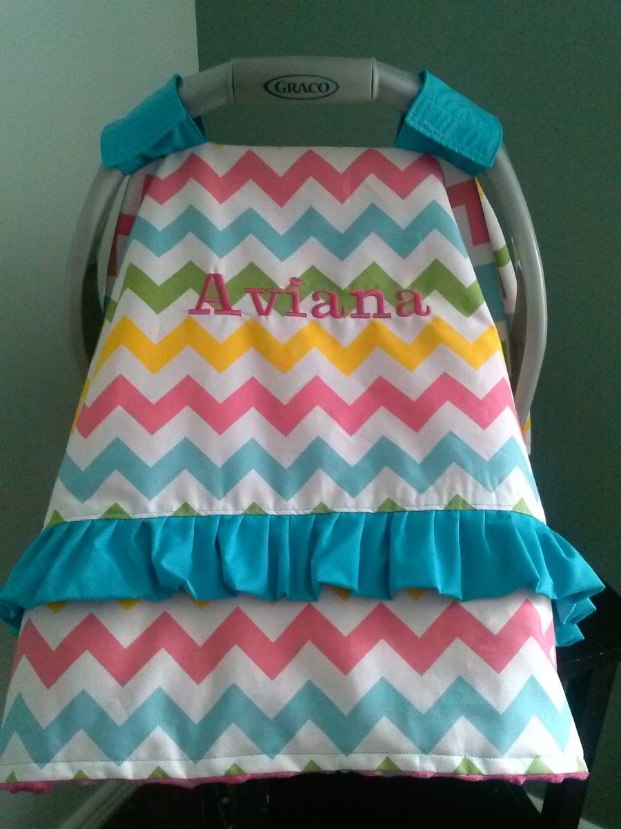 Hand Made Car Seat Canopy Cover With Ruffle By Peek A Boo Covers Llc