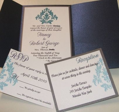 Custom Made 150 Beautiful Lapis Blue And Silver Metallic Damask Pocketfold Invitation Suites