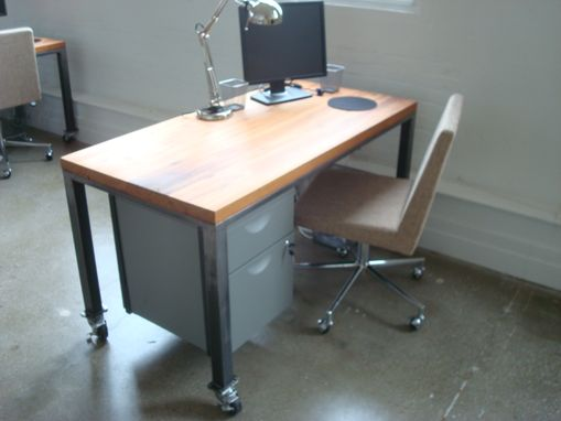 Custom Made Wood And Steel Desk On Casters