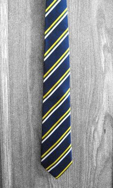 Custom Made Yellow & White Bold Stripe Tie